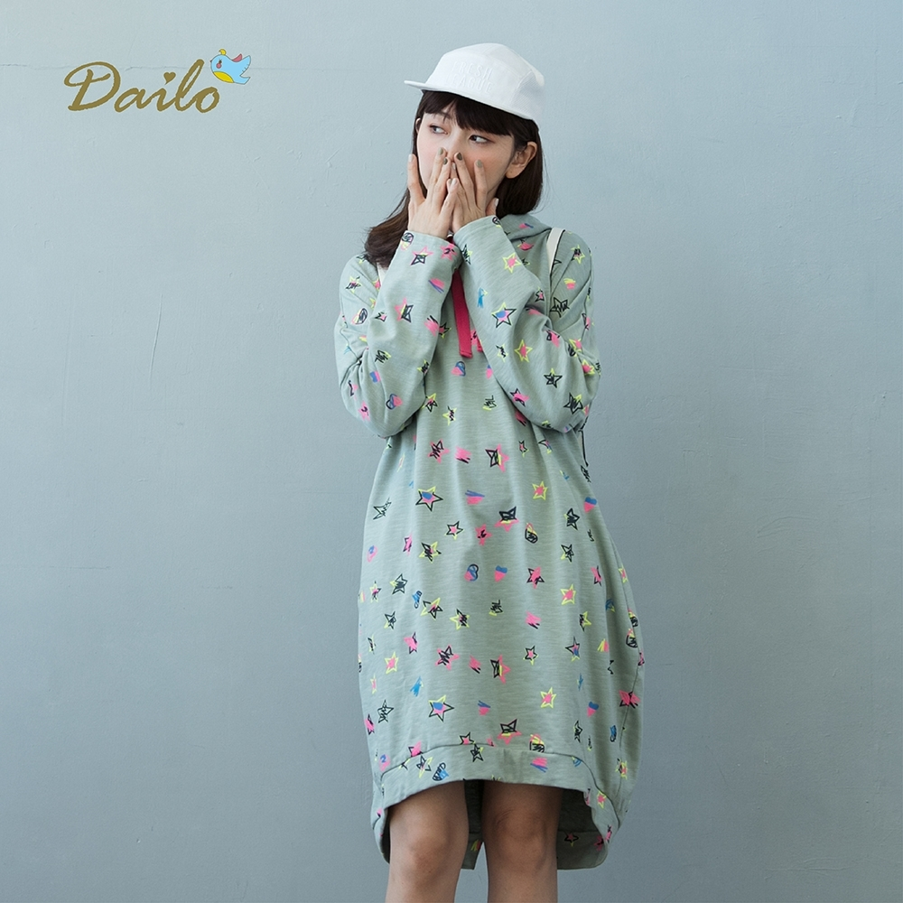 【Dailo】塗鴉造型長版帽T-洋裝(三色)