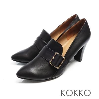 KOKKO - 法式優雅尖頭牛皮樂福粗跟鞋 - 芝麻黑