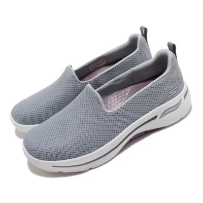 Skechers 休閒鞋 Go Walk Arch Fit 女鞋 專利鞋墊 足科醫生推薦 回彈 避震 穩定 灰 白 124401GYLV