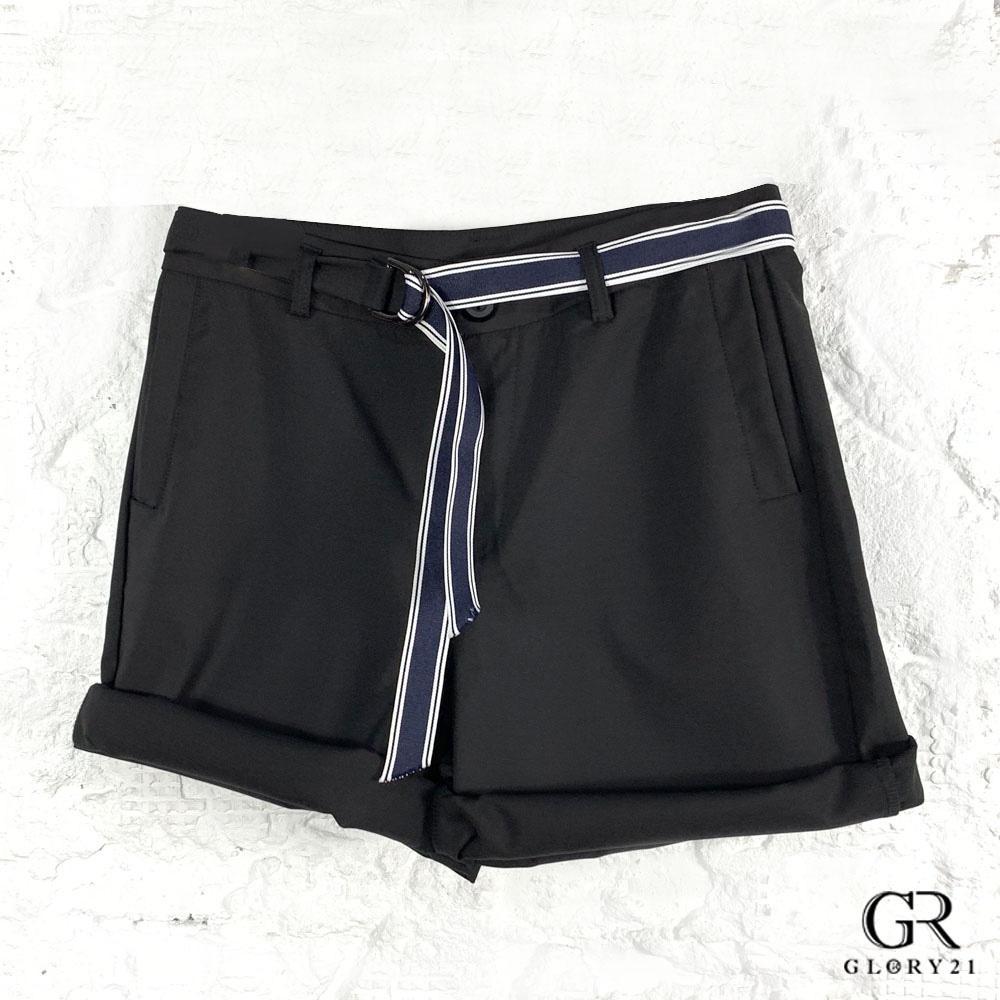 GLORY21 天然棉麻短褲_黑