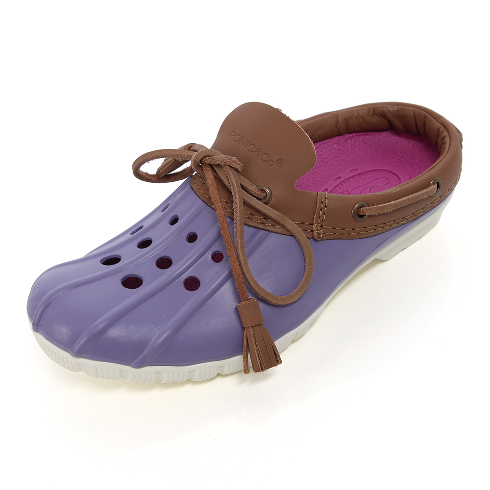 (女)Ponic&Co美國加州環保防水洞洞半包式拖鞋-紫色