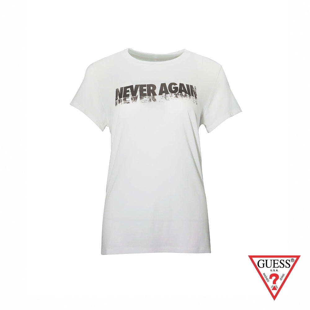 GUESS-女裝-簡約文字設計短T,T恤-白 原價1290
