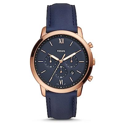 FOSSIL 洞察趨勢三眼時尚皮革腕錶(FS5454)-深藍色x玫瑰金框/44mm