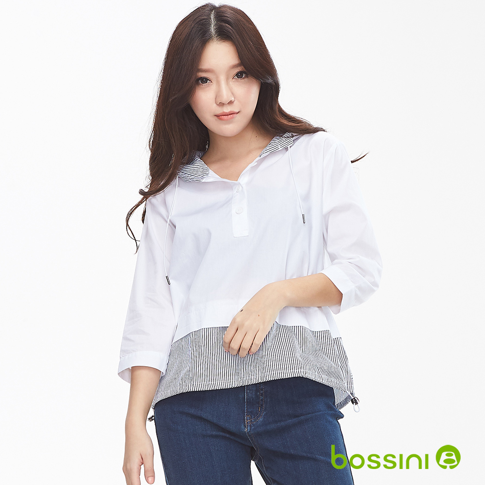 bossini女裝-連帽七分袖造型上衣白