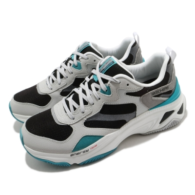 Skechers 休閒鞋 Energy Racer 復古 男鞋 厚底 增高 異材質拼接 穿搭推薦 黑 綠 237128WBK