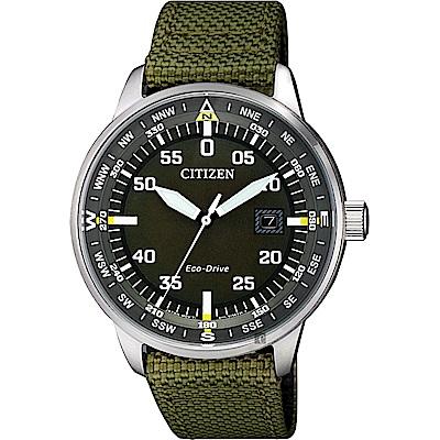 CITIZEN 星辰 限量光動能旅行手錶(BM7390-22X)-綠帆布/ 42mm