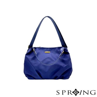 SPRING-簡約低調尼龍手提包-極致藍