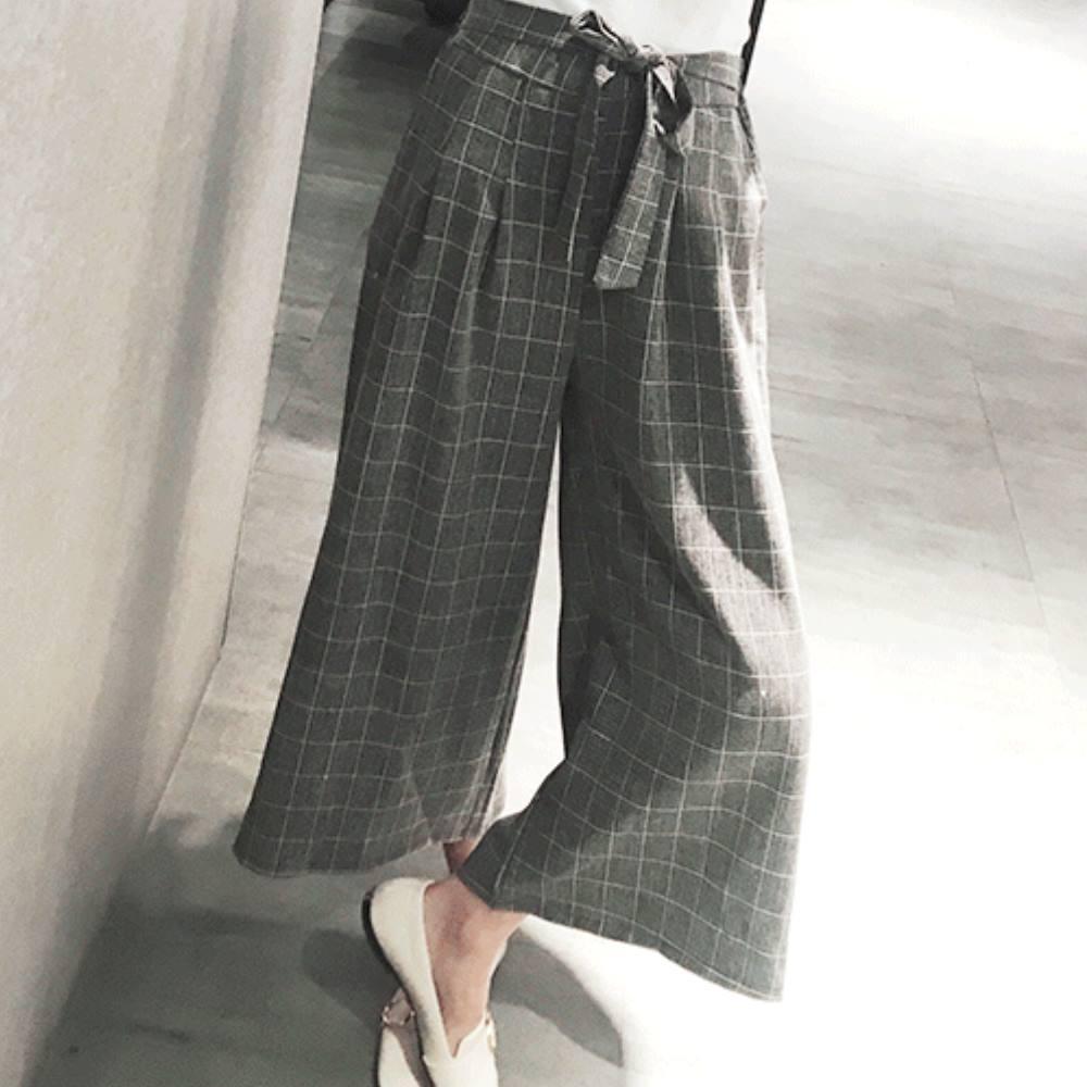 La Belleza鬆緊腰附綁帶方塊格子闊腿褲薄料寬管褲