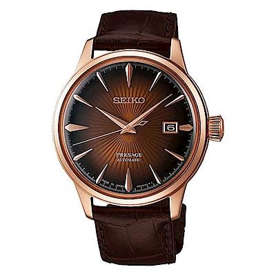 SEIKO精工PRESAGE簡約時尚機械腕錶-咖啡4R35-01T0-P/SRPB46J1