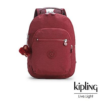Kipling高雅酒紅素面後背包(小)-CLAS SEOUL S
