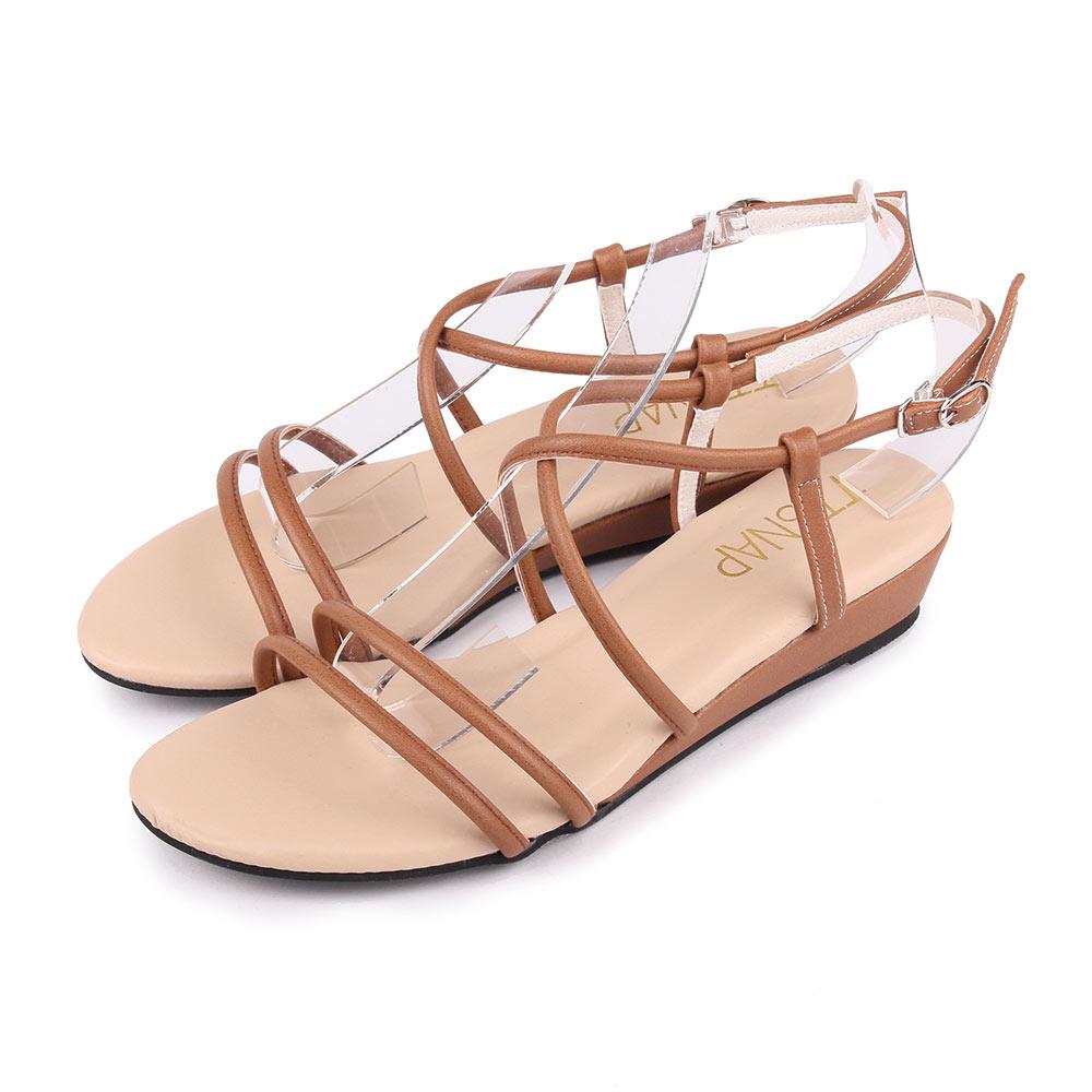 TTSNAP楔型涼鞋-高雅交叉中跟羅馬涼鞋 棕