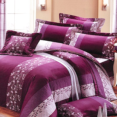 Carolan 富貴年華-紫  加大五件式純棉床罩組(台灣製)
