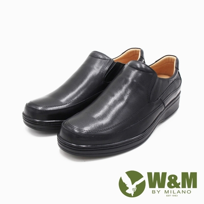 W&M(男)氣墊感厚底增高樂福皮鞋 男鞋-黑