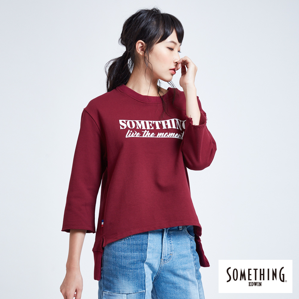 SOMETHING 青春高校 休閒字母圓領T恤-女-暗紅