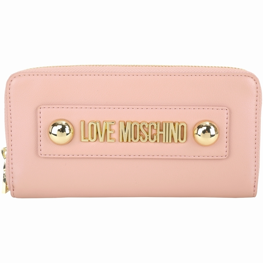 LOVE MOSCHINO 金屬字母標誌皮革拉鍊長夾(粉色)