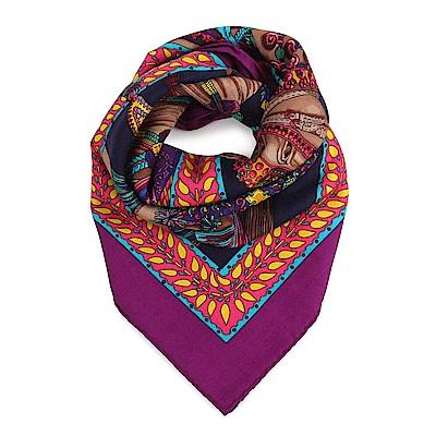 HERMES La Danse du Cheval Marwari羊絨混絲圍巾披肩-紫色