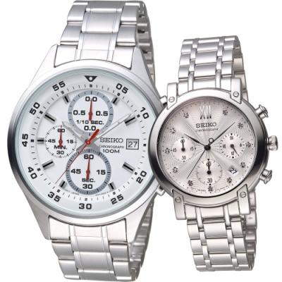 SEIKO 甜蜜時分時尚對錶(4T57-00J0S+7T12-0CB0S)