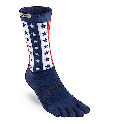 【INJINJI】TRAIL野跑避震吸排五趾中筒襪-星條旗