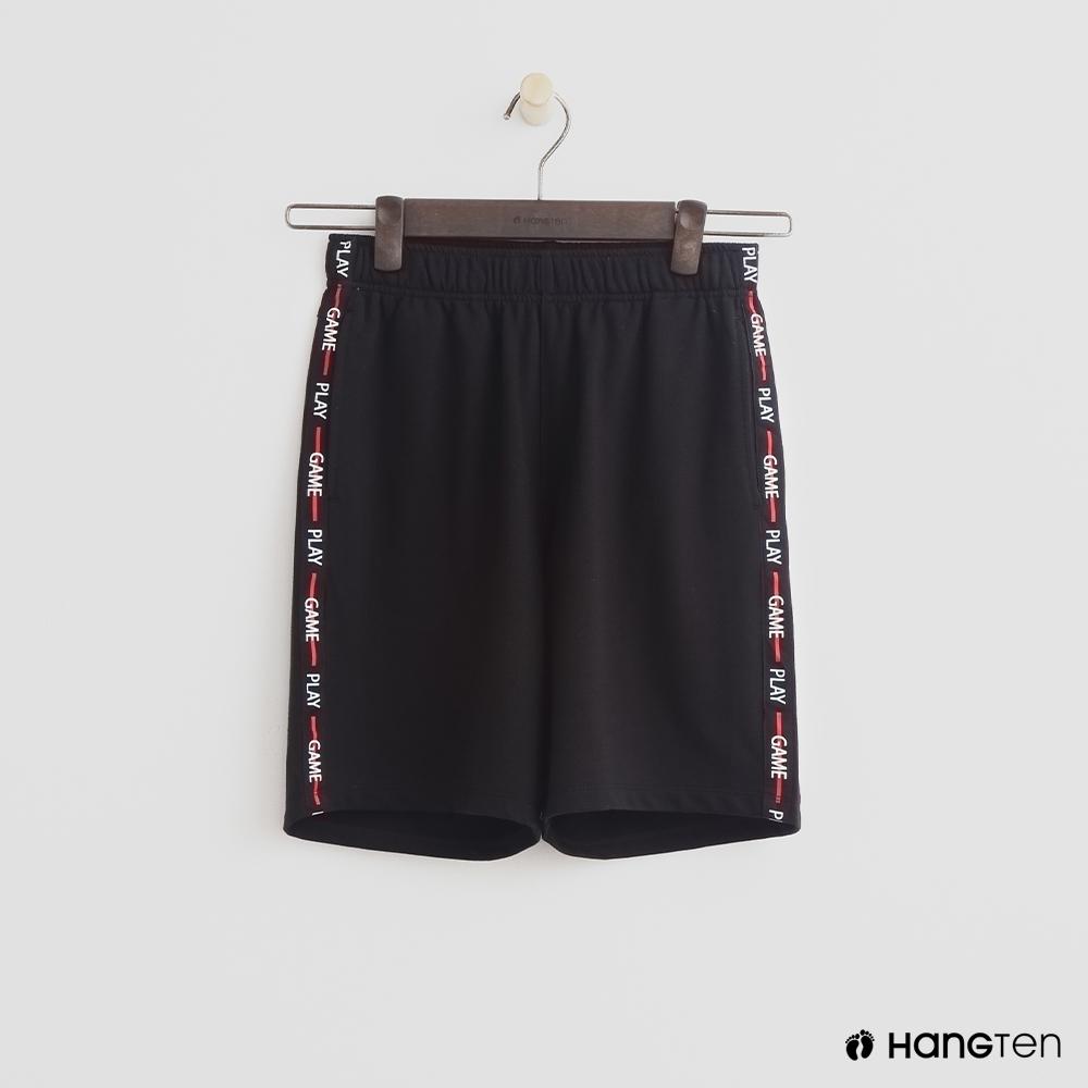 Hang Ten- 青少童裝-修邊棉質短褲-黑