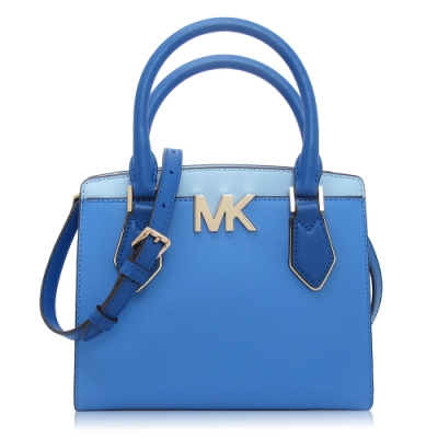 Michael Kors 光滑皮革 / 斜背 兩用包(小款/藍色)