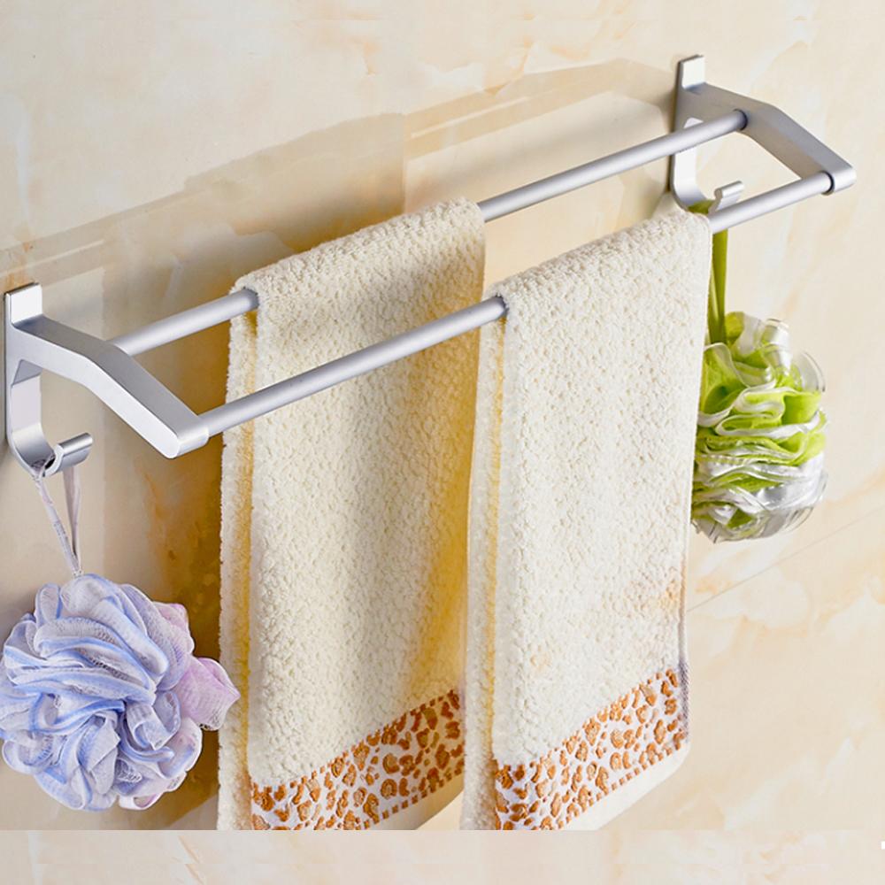 AA085-70cm 加厚雙桿 免打孔無痕太空鋁毛巾架/毛巾桿