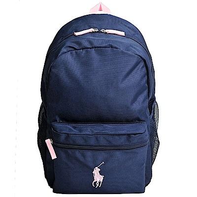 POLO Ralph Lauren 品牌粉紅色小馬LOGO圖騰刺繡尼龍後背包(深藍)