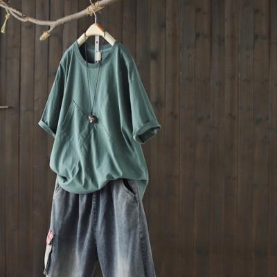 寬鬆顯瘦韓版純棉短袖T恤單色拼接上衣-設計所在