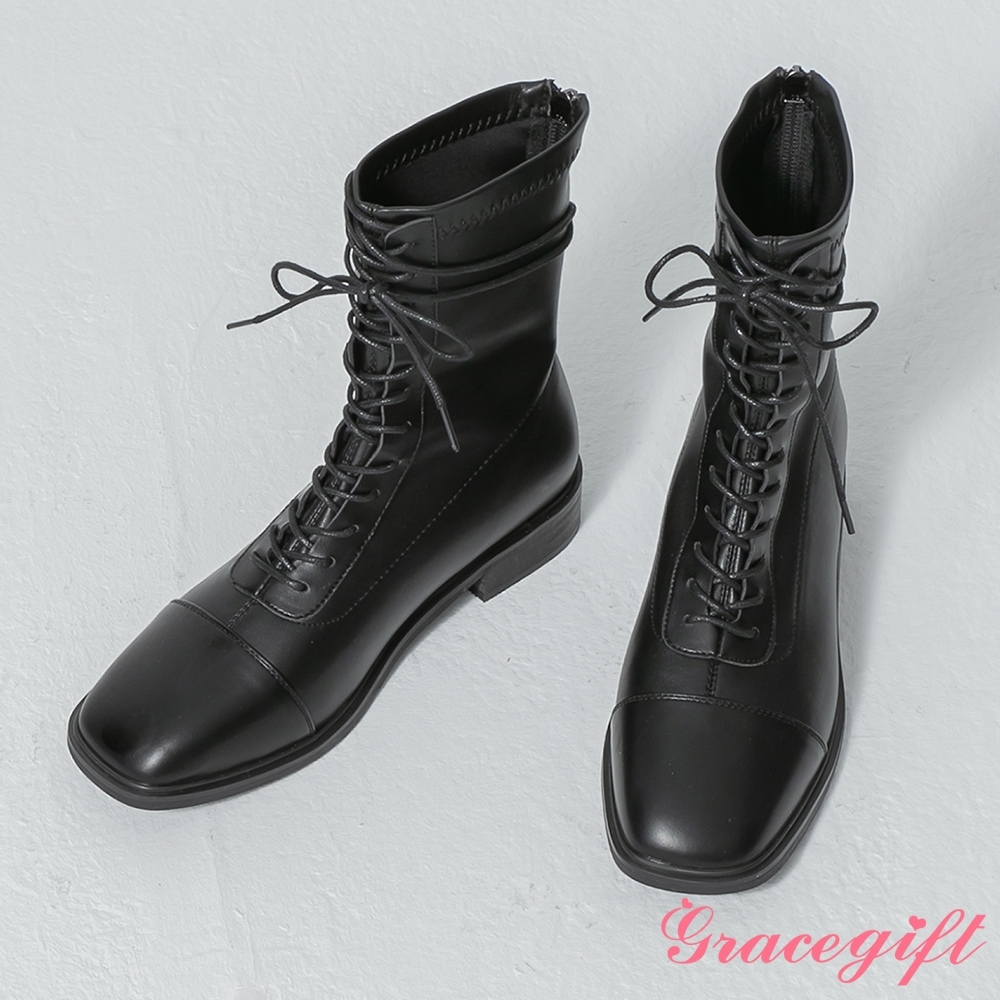Grace gift-韓系方頭車線綁帶靴 黑