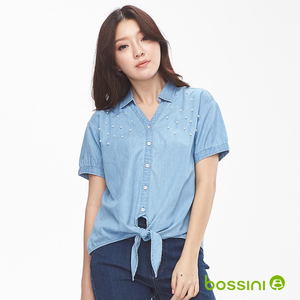 bossini女裝-短袖丹寧襯衫淺藍