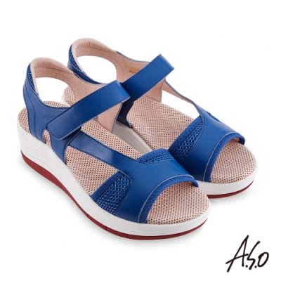 A.S.O 機能休閒 輕穩健康鞋牛皮/網布休閒涼鞋-藍