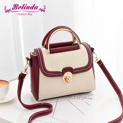 【Belinda】艾拉托線條個性撞色手提側背包(酒紅配白)