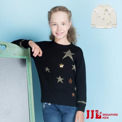 JJLKIDS 時尚星星亮片長袖針織毛衣(2色)