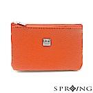 SPRING-特價-微風城市鑰匙圈雙層牛皮零錢包-亮麗橘