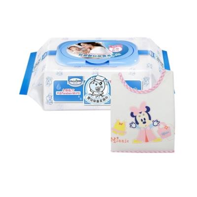 貝恩Baan NEW嬰兒保養柔濕巾80抽24入+Baby City米妮防水透氣無袖圍兜(粉)
