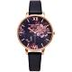 OLIVIA BURTON 黑色神秘花園款皮革錶帶手錶(OB16WG42)-黑面X黑色/38mm product thumbnail 1