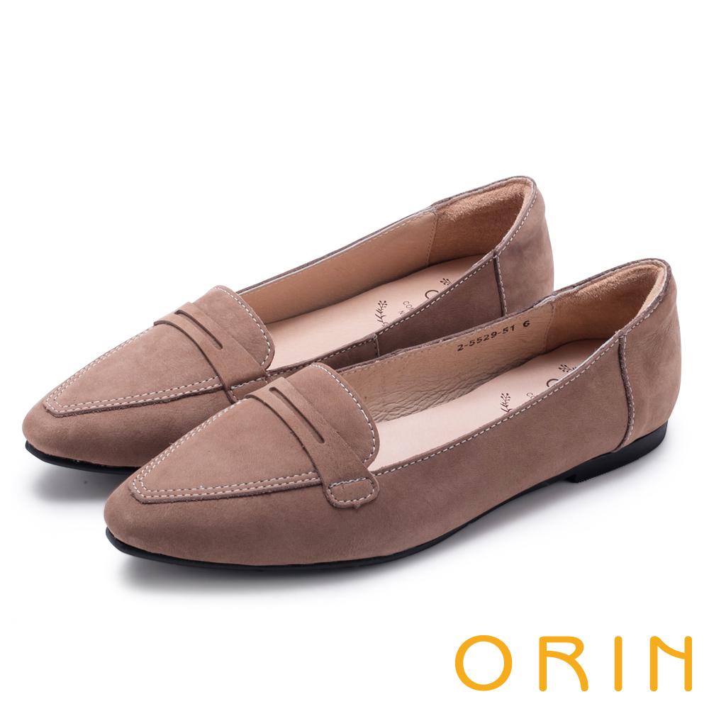 ORIN 經典復古 嚴選優質牛皮尖頭樂福平底鞋-可可