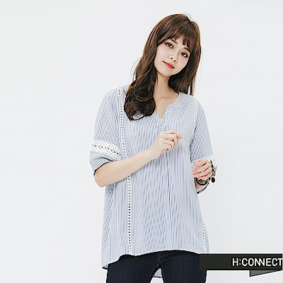 H:CONNECT 韓國品牌 女裝-刺繡造型條紋上衣-藍