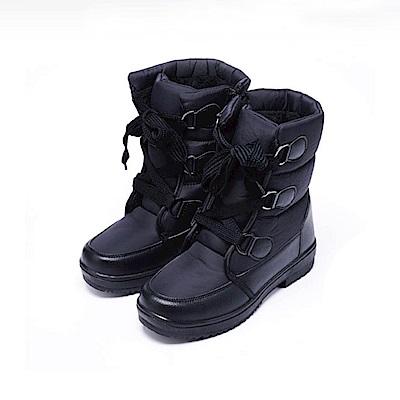 【AIRKOREA韓國空運】雪地可穿-防風鋪棉保暖雪靴中筒靴-黑