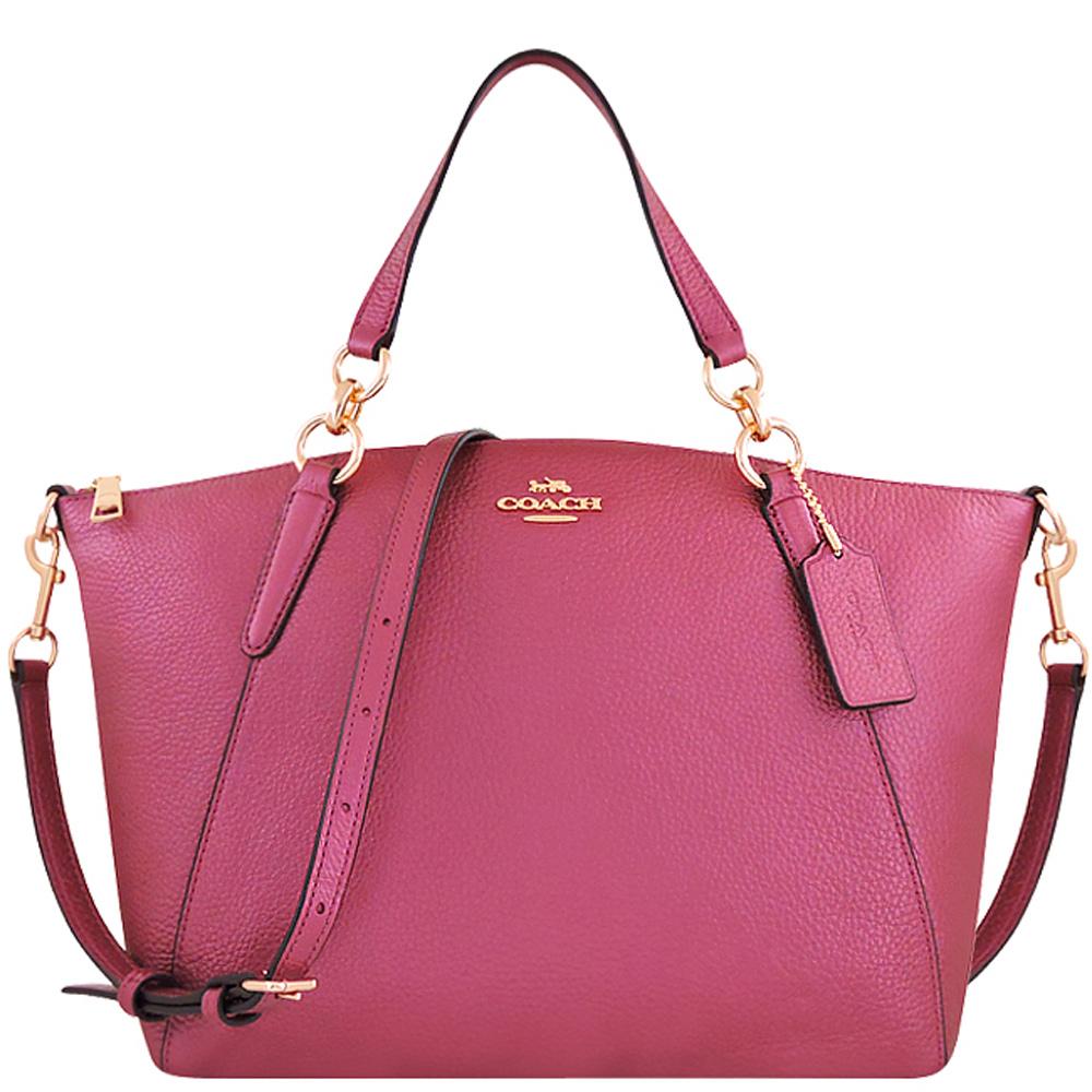 COACH 粉紅色光澤荔枝紋皮革手提/斜背兩用包