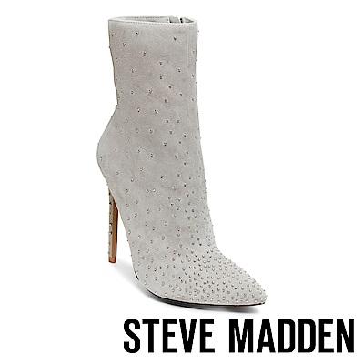 STEVE MADDEN-WHIT-閃耀鉚釘尖頭高跟短筒靴-絨灰