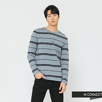 H:CONNECT 韓國品牌 男裝-雙條紋圓領上衣-淺藍