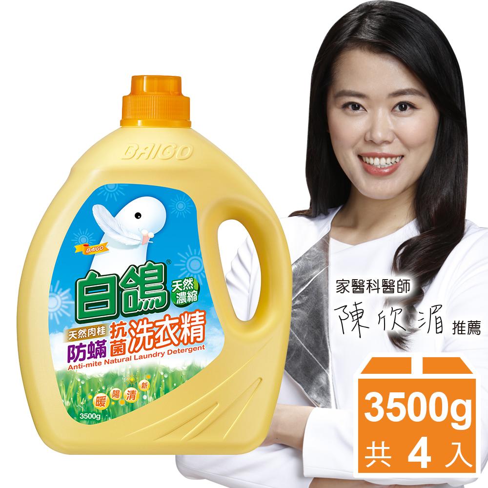 白鴿 天然濃縮防蹣洗衣精-天然肉桂3500gx4入/箱