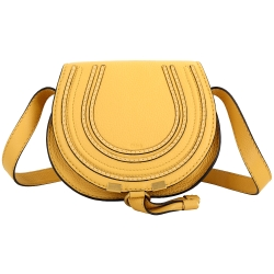 CHLOE Marcie 小型 牛皮肩斜背馬鞍包(黃色)