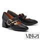 高跟鞋 MISS 21 精緻懷舊雙帶設計真皮方頭瑪莉珍粗跟鞋-黑 product thumbnail 1