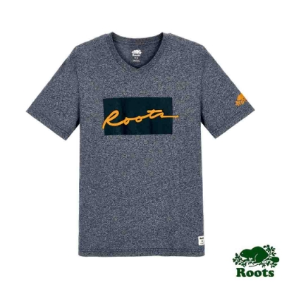 男裝Roots-Script格子短袖T恤-灰色