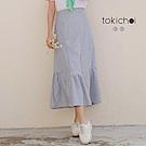 東京著衣 鄰家妹妹後鬆緊直紋襯衫布荷葉魚尾裙(共二色)
