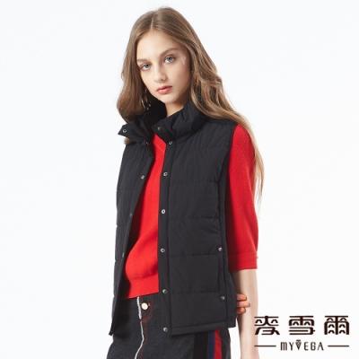 【麥雪爾】簡約風高領鋪棉背心-黑