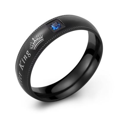 GIUMKA白鋼戒指 黑色寬版男戒 國王皇后 單個價格