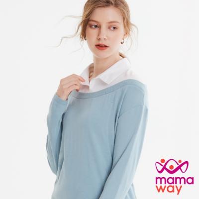 【mamaway 媽媽餵】翻領拼接孕哺上衣(共2色)