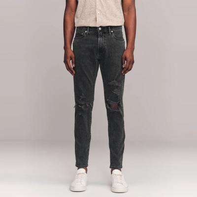 A&F 麋鹿 經典破壞設計錐形窄管牛仔長褲SKINNY TAPPER(男)-鐵灰色